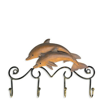 Tooarts Iron Dolphin Wall Hooks Antique Finish Iron Clothes Hanger Rack R9J5