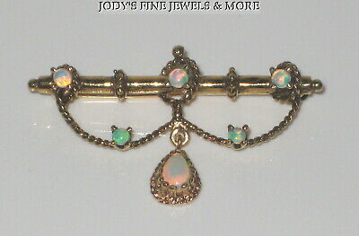 Magnificent Vintage Estate 14K Yellow Gold Iridescent Opal Ladies Brooch Pin