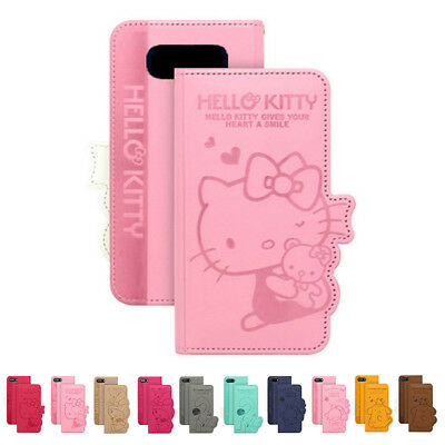 aa81aa283 Hello Kitty Engrave Leather Card Flip Case For Samsung Galaxy Note5 Note8  Note9