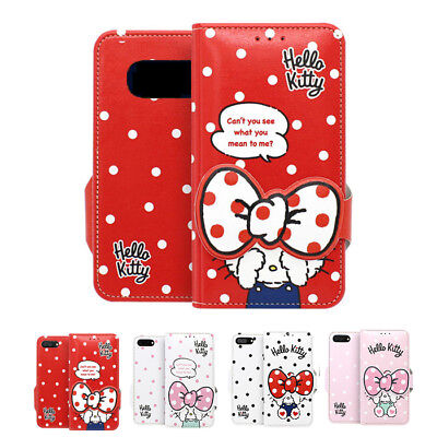 cbb10b6b8 Hello Kitty Hide Leather Card Diary Case For Samsung Galaxy Note5 Note8  Note9