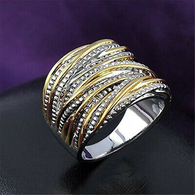 Fashion Men/Women's Punk 2-Tone Stainless Steel Ring Wide Band Jewelry Size 6-10