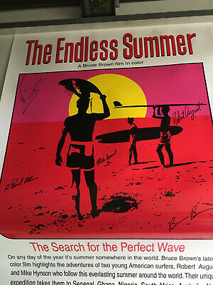 Autographed Endless Summer poster by Brown, August, Hynson, Wingnut....