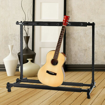 5-Guitar Instrument Folding Storage Stand w/ Foam-Padded Rails - Black