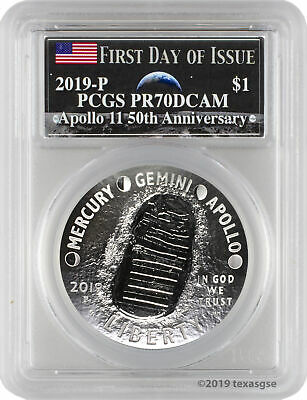 2019-P Apollo 11 50th Anniversary Proof Silver Dollar PCGS PR70DCAM FD - Moon