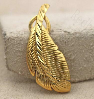18K Gold Filled Pendant Beautiful Big Leaf Carving Clear Stem Women Party RE