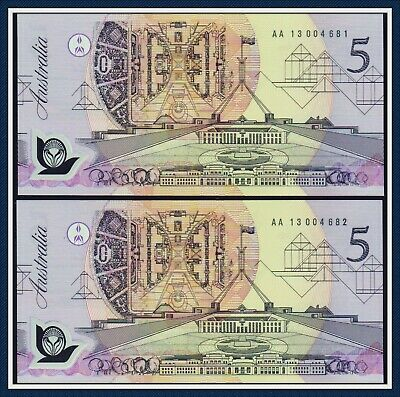 Consecutive Pair $5 Polymer Banknotes Fraser/Cole 1992  ex- Mc $5 F/LF
