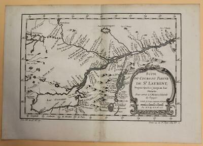 St. Lawrence River Quebec Lake Ontario Canada 1757 Bellin Antique Engraved Map