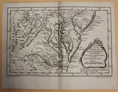 Chesapeacke Bay Virginia Maryland Delaware United States 1757 Bellin Antique Map