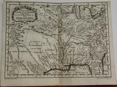Mississippi River Valley Louisiana Usa 1757 Bellin Antique Copper Engraved Map