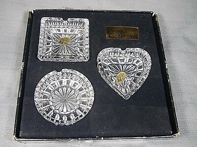 24% full lead Crystal Glass 3 Ashtrays Jewelry Dish Vintage W.Germany 1982 Heart
