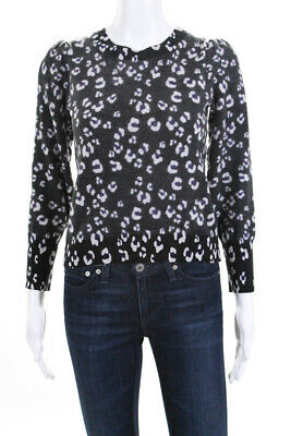 a4571f4d1cd8 Rebecca Taylor Womens Cheetah Print Pullover Sweater Grey Size Small  11528477
