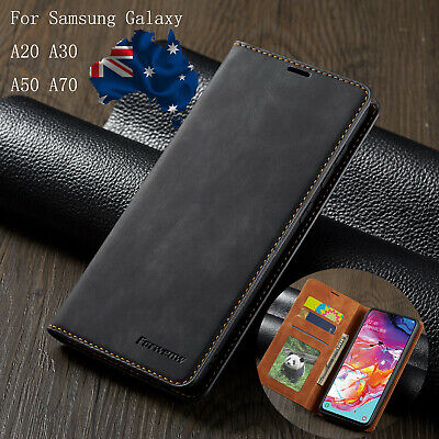 For Samsung Galaxy A30 A50 A20 A70 Slim Leather Wallet Case Card Slot Flip Cover