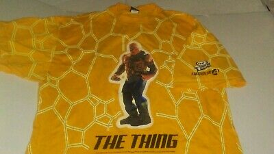 THE THING 2005 Fantastic 4 Marvel Graphic Yellow XL T-Shirt Made in USA Kraft