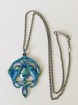 Antique Sterling Silver And Enamel Arts And Crafts Necklace