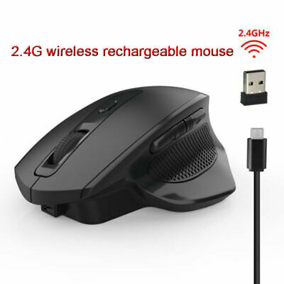 Rechargeable 2.4G 2400 DPI 6 Buttons Silent Wireless Vertical Mouse Mice