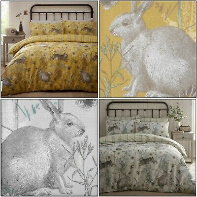 RABBIT MEADOW Animal Ochre or Sage Check Duvet Cover / Quilt Cover Set Bedding