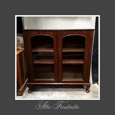 Mahogany Bookcase Cabinet, Cast Glass Glazed Doors, Shelves, Edwardian Antique