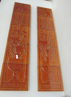 Ceramic Tiles Set Fireplace Tile Brown Urn Floral Flowers Vase Vintage / Retro