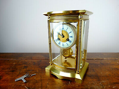 Antique French Crystal Four Glass Mantel Clock by Vincenti Chiming Regulator