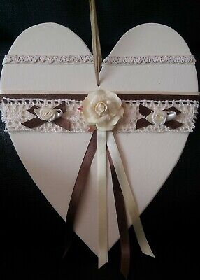 Wooden Heart Hand Decorated with lace, ribbons and flowers. New.