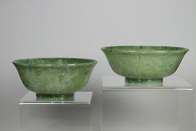 Antique Chinese Late Qing c1900 Carved Bowenite Pair Bowl Bowls FINE Old Reciept