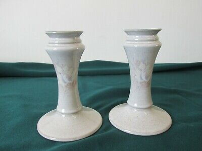 2 lovely Denby Dauphine Encore candlesticks - 2nd quality but VGC