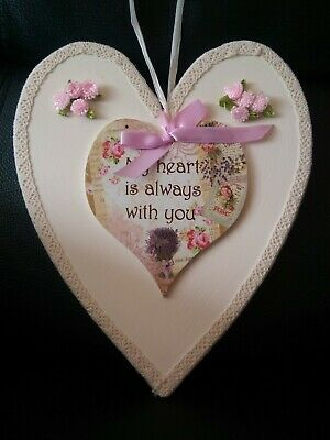 Hand decorated Wooden Heart. New. Free Postage Ireland & UK.