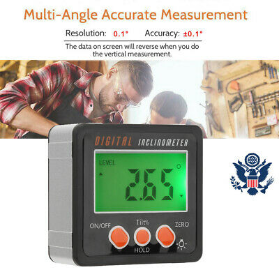 Multifunctional 4*90 Angle Cube Digital Magnetic Protractor Gauge Level Box