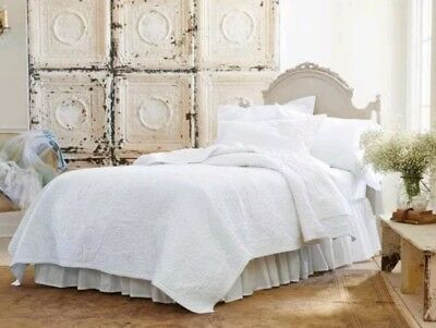 SIMPLY SHABBY CHIC White Rose Stitch Quilt ~ KING ~ 104 × 92