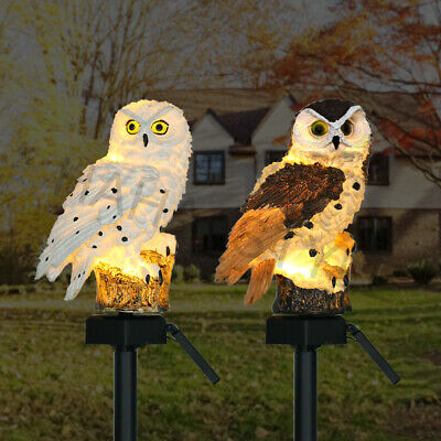 LED Owl Solar Powered Garden Light Outdoor Ornament Lawn Waterproof Statue Lamp