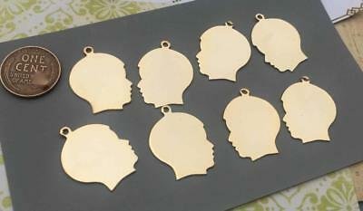 Vintage Flat Gold Tone Metal Boy Silhouette Face Charms 8