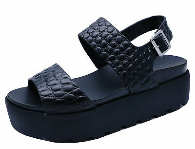 Ladies Black Leather Platform Chunky Open-Toe Sandals Wedge Shoes Sizes 3-8