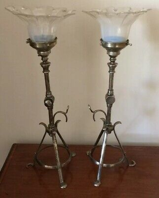 Rare Pair Of Arts & Crafts Silver Plated Pullman Lamps With Opaline Shades