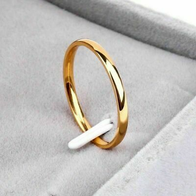 2mm Thin Stackable Ring Stainless Steel Plain Band for Women Girl Sz 3-10