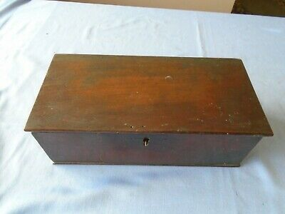 Antique  Vintage Mahogany Wooden Box  Trinket Box Sewing Box Desk Top Storage