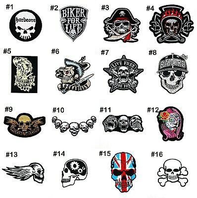 Skull Zombie Skeleton Retro Rock Punk Biker Hardcore Tattoo Jacket Iron on patch