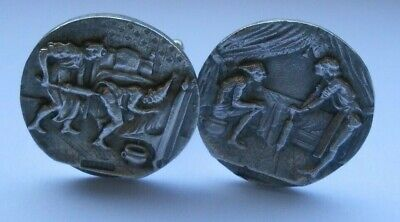pair silver buttons mounted as cuff links enema clyster medical  scene