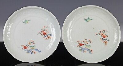 Nice Pair of Antique Japanese Kakiemon Porcelain Plates with Molded Rims