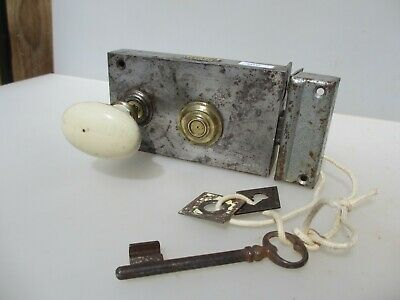 Victorian Iron Door Lock Ceramic Knobs Handle Antique French Old Keep keyhole