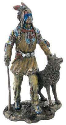 Native American Plains Indian w/ Wolf and Rifle Statue Sculpture Figurine