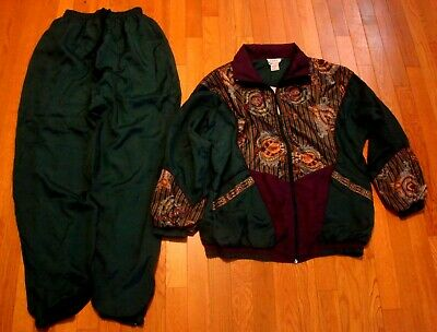 VTG LAURA KATHERINE Womens Adult Green Athletic Track Suit Jacket Pants Small S