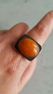 Art Deco Antik Georg Kramer Fischland Ring 835 Silber Bernstein Butterscotch