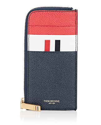 $490 New Thom Browne Grosgrain Zip Tri-Color Card Case Leather 100% Authentic