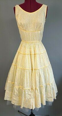 Vintage 50s Summer fit flare yellow white cotton circle skirt dress sundress RAB