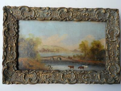 Antique 19Th Century Oil Painting On Board Cattle By A River In Gilt Frame