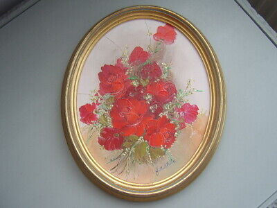 ~ Vintage Signed Oil Painting Red Roses Oval Gold Frame ~