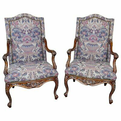 Beautifully Carved Pair Tall Walnut Louis XV Style Tapestry Arm chairs Armchairs