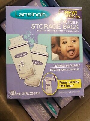 6 Boxes Lansinoh Breastmilk Storage Bags LOT!  Qty 50 in Box - 300 Bags! NEW!!!