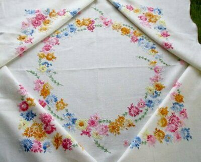 Vintage Tablecloth Hand Embroidered-Colourful Flowers-Linen