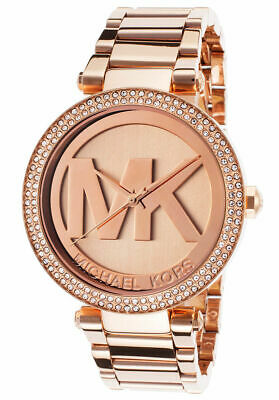 Michael Kors MK5865 Parker Rose Gold Big Logo Glitz Women's Watch